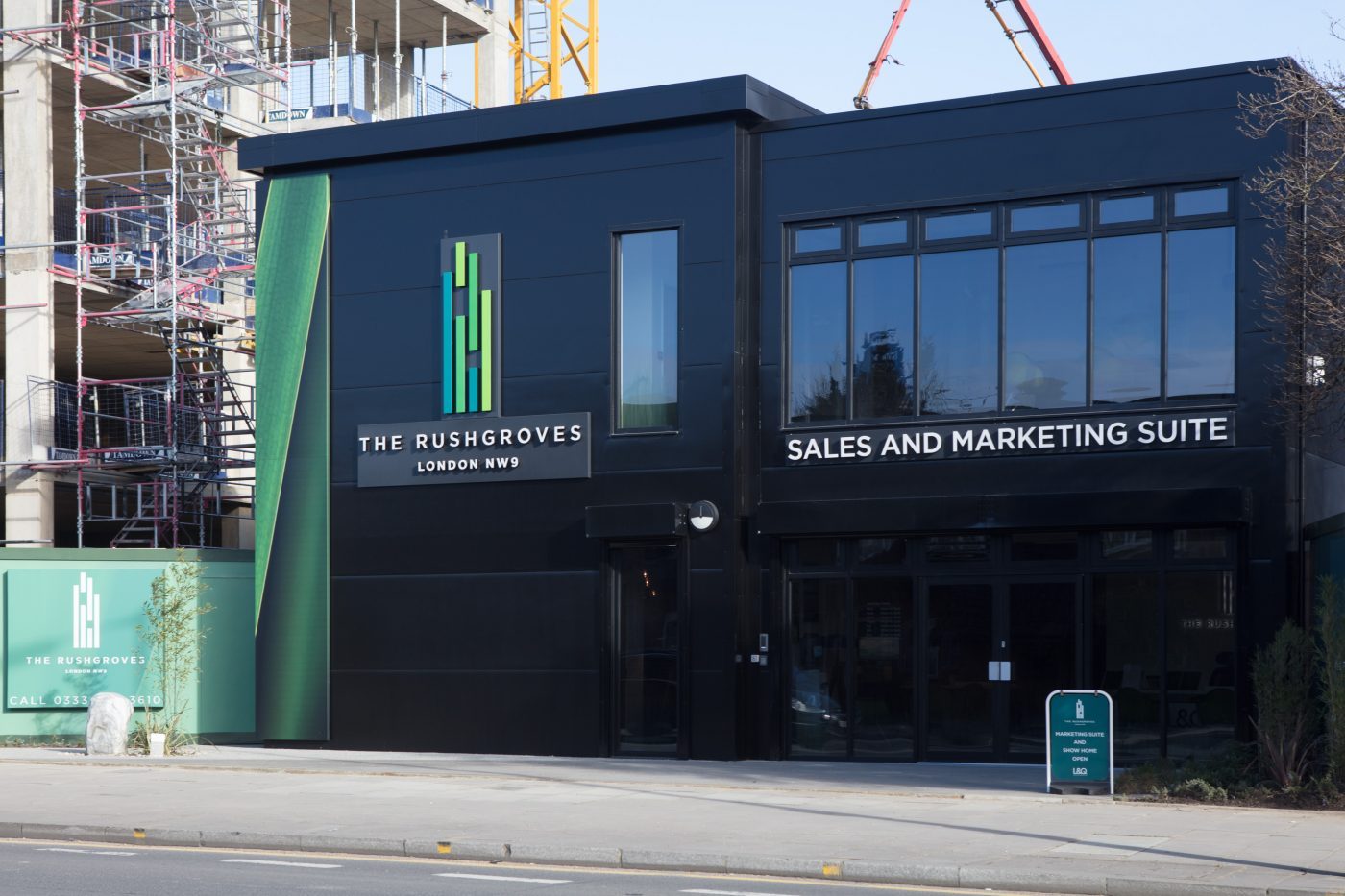 exterior of marketing suite for Rushgroves