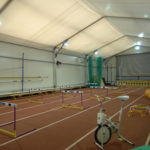Inside of temporary building for athletics training facility