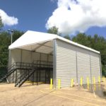 Temporary Warehouse - scanning shed at Geodis