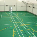 Temporary Sports Hall Interior with Markings