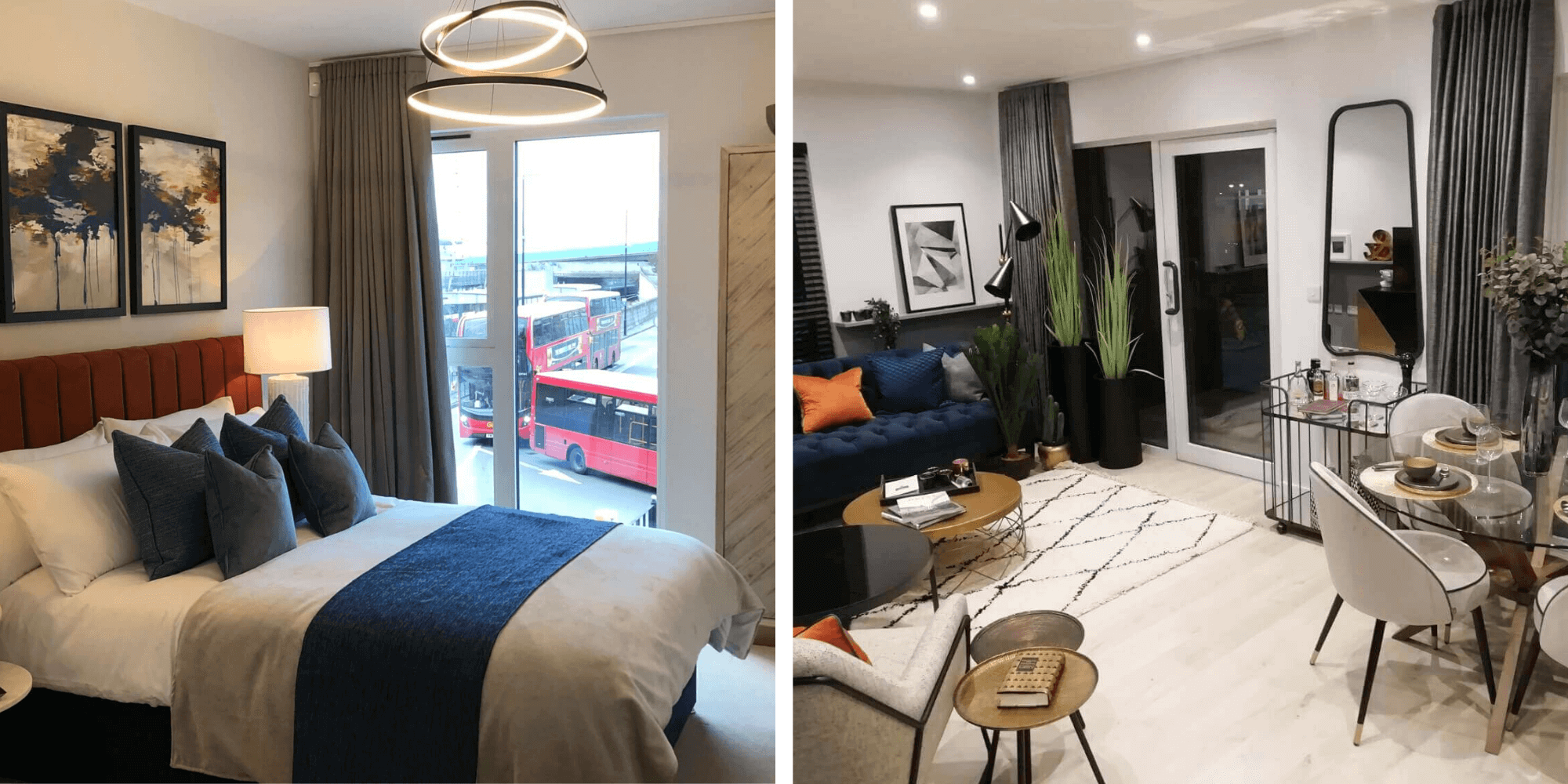 Two different interior marketing suite designs